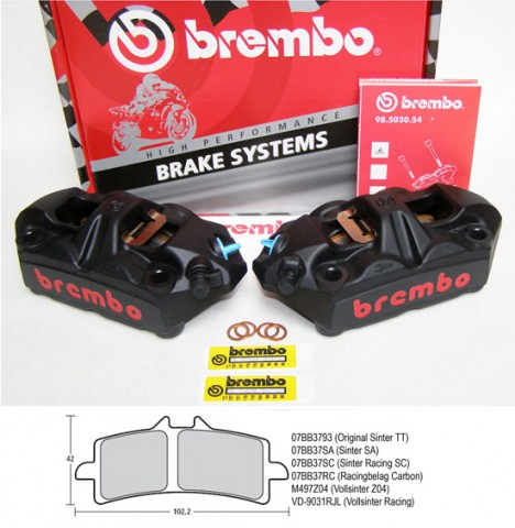 Brembo Radial M4 Monoblock Bremszangen Black 100 mm Kit