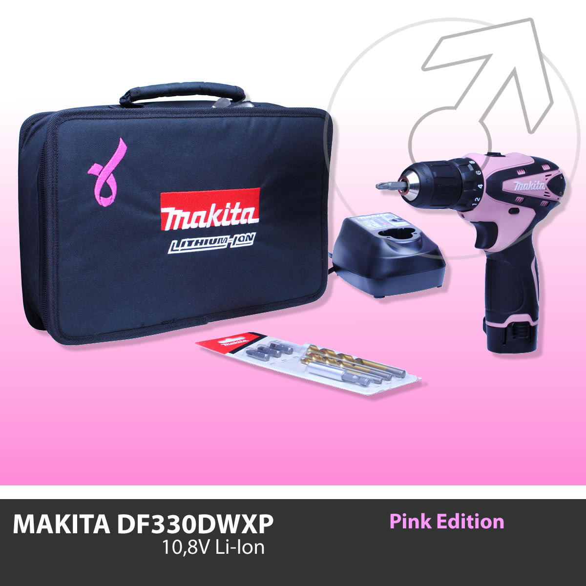 pink edition makita df330 akkuschrauber 10 8v li ion inkl akku lader df330dwxp ebay. Black Bedroom Furniture Sets. Home Design Ideas